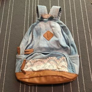 Denim and lace backpack